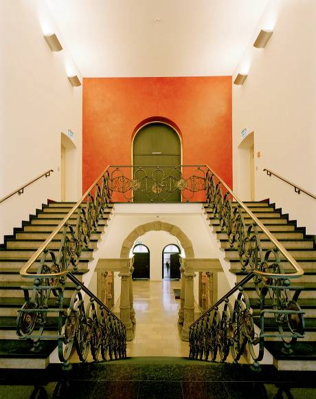 From the original building, only the stair railing remains in the ascent to the second floor