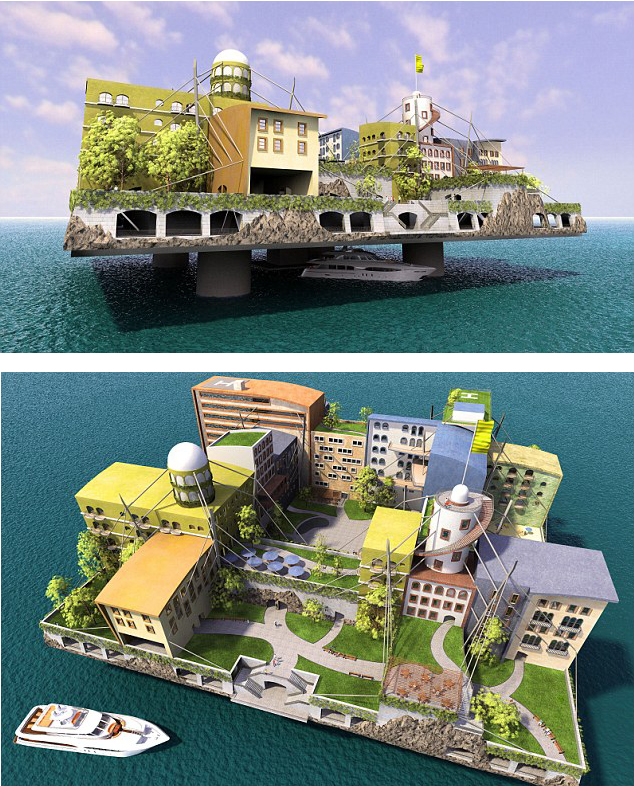 Two views of Paypal founder Peter Thiel's plan for a floating city off the coast of San Francisco, 2011 (Renderings: dailymail.co.uk)