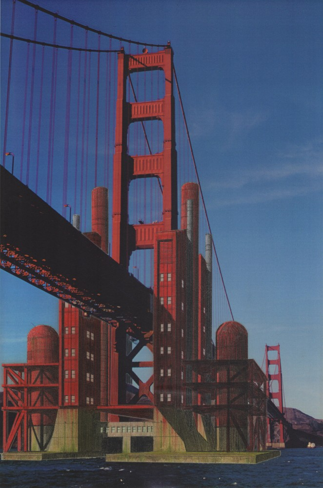 Golden Gate Bridge with Tidal Power and Desalination Station (by Marc L'italien), 1995-1999