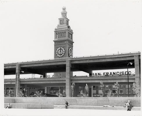 Embarcadero Freeway cutting in front of the Ferry Building....