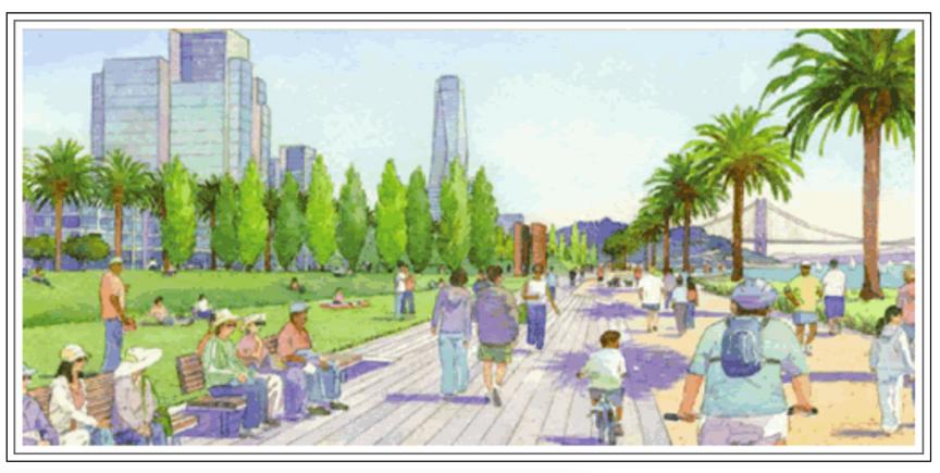 Artist's concept of Treasure Island development plan promenade, 2007-2011