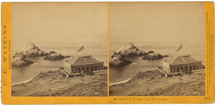 Stereo view of the Cliff House in 1867 by Carleton Watkins, 1867