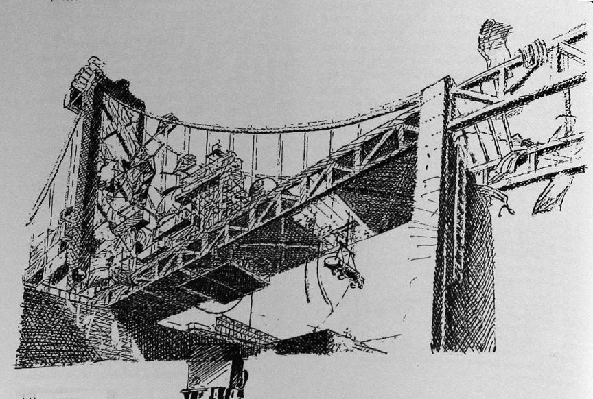 Post-earthquake Bay Bridge converted into a shantytown in William Gibson's Bridge trilogy (1990s)