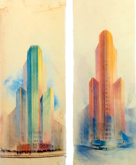 Tinted skyscrapers for San Francisco (Timothy Pflueger, left and Hugh Ferriss, right) 1920s