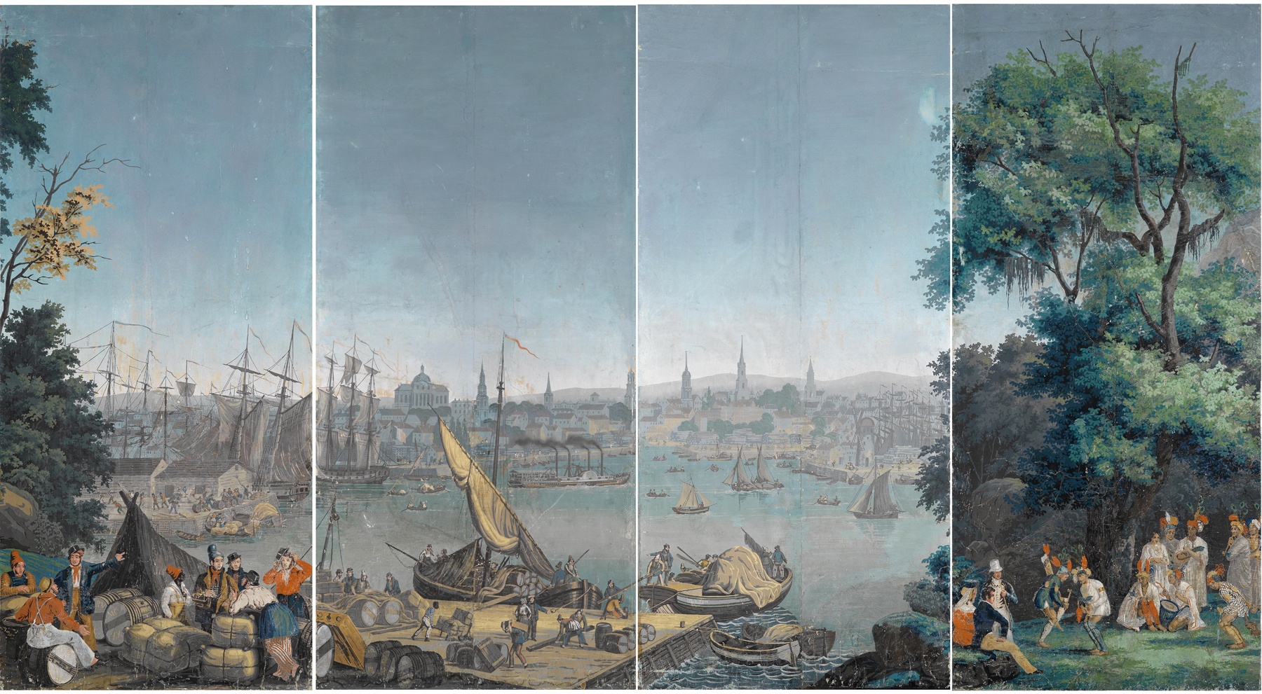 "From the Zuber company's wallpaper series, ""Scenes from North America,"" displayed at the 1834 exposition (click the image for an enlarged view)"