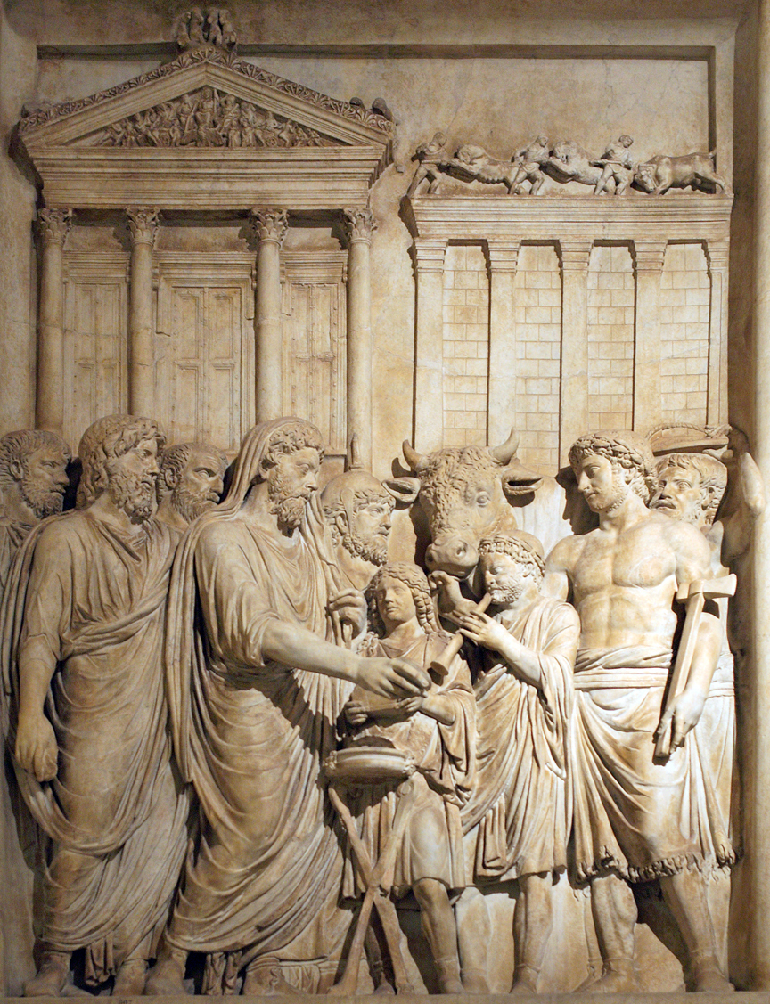 Marcus Aurelius prepares the sacrifice at the  Feria Latina