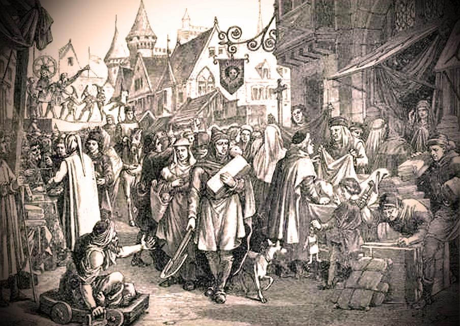 Anonymous nineteenth century engraving depicting the Champagne Fair in the thirteenth century