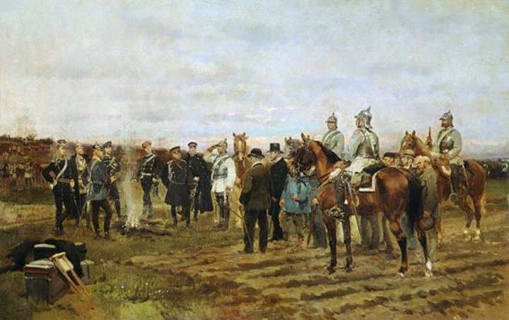 "Edouard Detaille, ""Sale of the Hostages "" -- French officials bargaining with Prussian officers for the return of wounded soldiers, 1878"