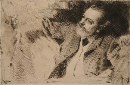 Antonin Proust, Exposition President, in 1889 -- etching by Anders Zorn