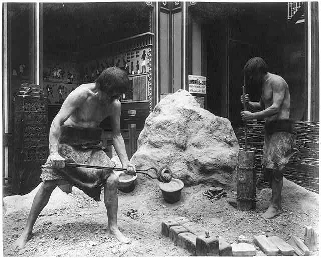 """""""Primitive bronze casting"""" diorama in the History of Labor section"""