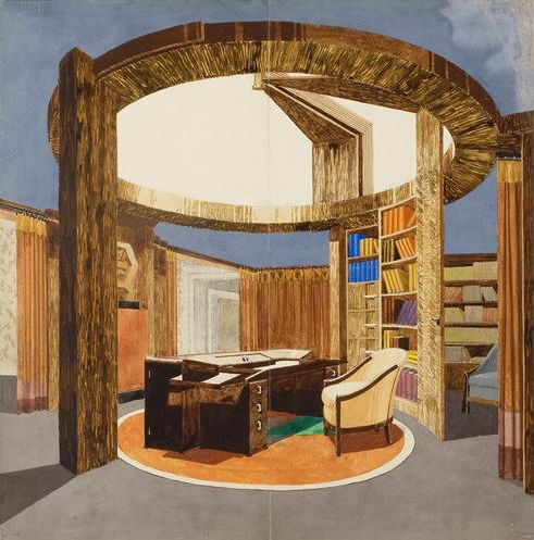 Office in the Ambassade (gouache and pencil by Pierre Chareau, 1925)