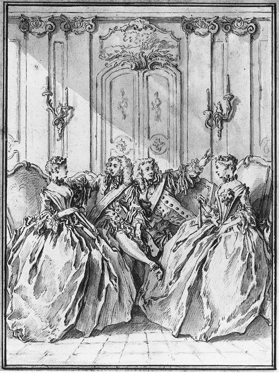 An illustration (after Boucher) of Molière's satire on contemporary salons,  Les Preécieuses Ridicules