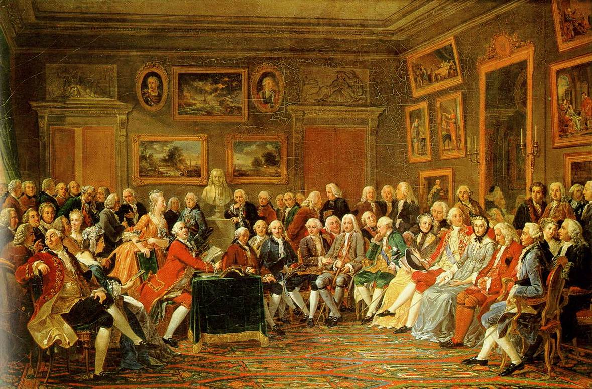 Madame Geoffrin's Salon in the 1750s, painted by  Anicet Charles Gabriel Lemonnie