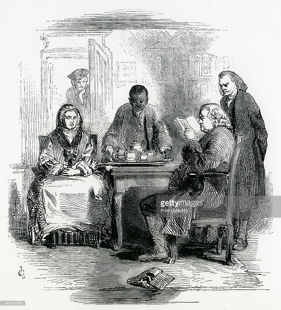 Samuel Johnson at Home (Illustration in  The Leisure Hour , London, 1852) -- Getty Images