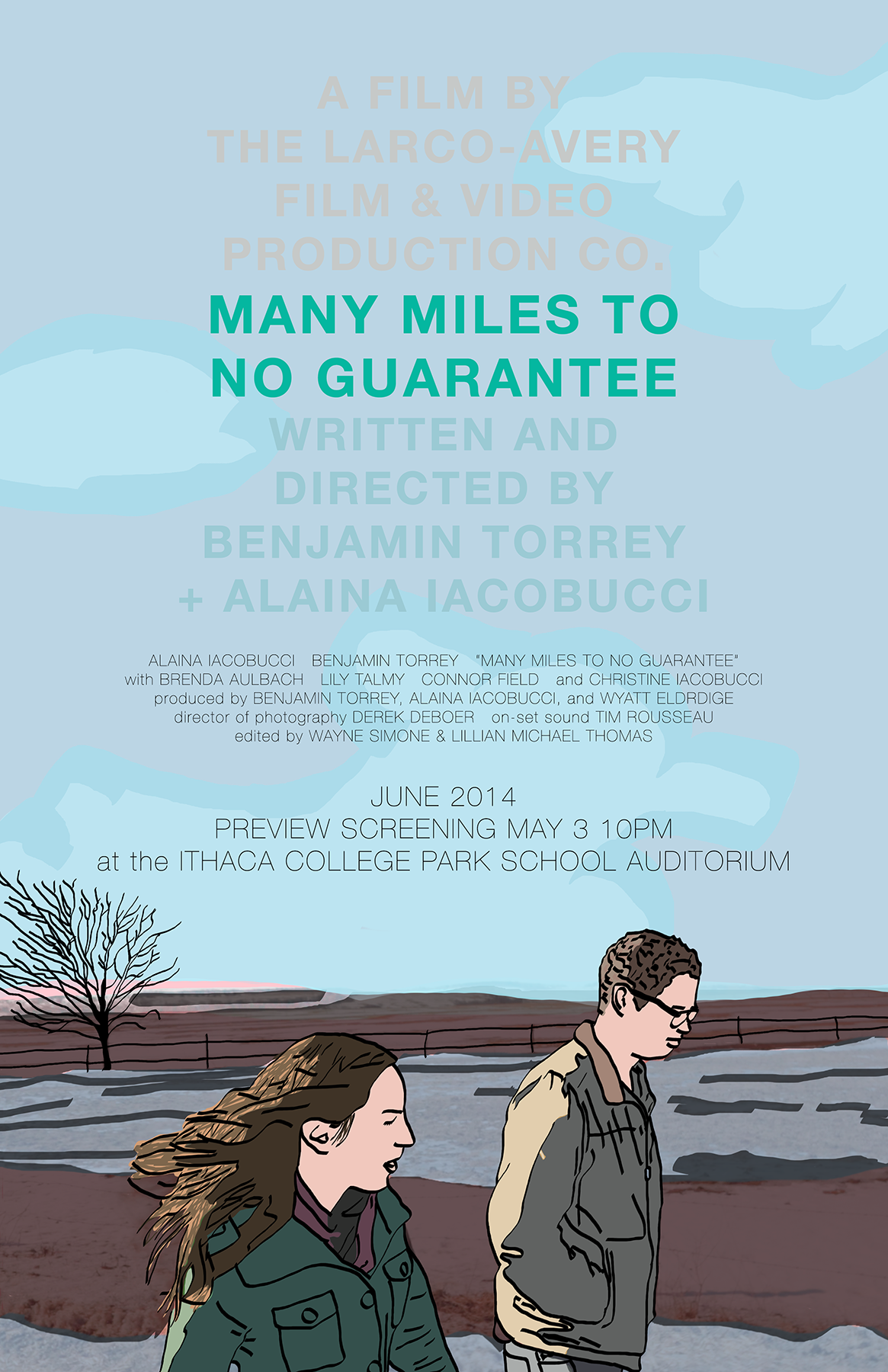 Preview screening poster for  Many Miles to No Guarantee . 2014.