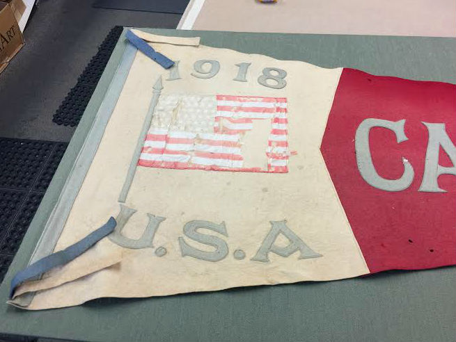 A close-up of the flag before.