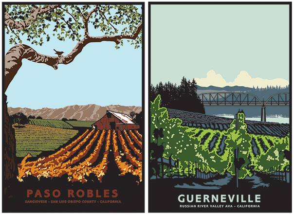 Jake Early's newest hand-pulled prints are going to be released! The 3rd and 4th installment of Jake Early's picturesque tour through California's wine growing regions makes stops in Paso Robles and Guerneville. You can almost feel the warm California sunshine on your back as you get a closer look at the vineyards where some of our favorite wine is produced. Print  s start at only $200! Buy them individually or as part of a 10-print series now by visiting  http://jakeearlyart.com/California-Wine-Series/  The first twenty set purchases will receive a bonus specially-crafted bottle of wine designed and signed by both Jake Early and Berton Bertagna of Almendra Winery & Distillery, how sweet is that?