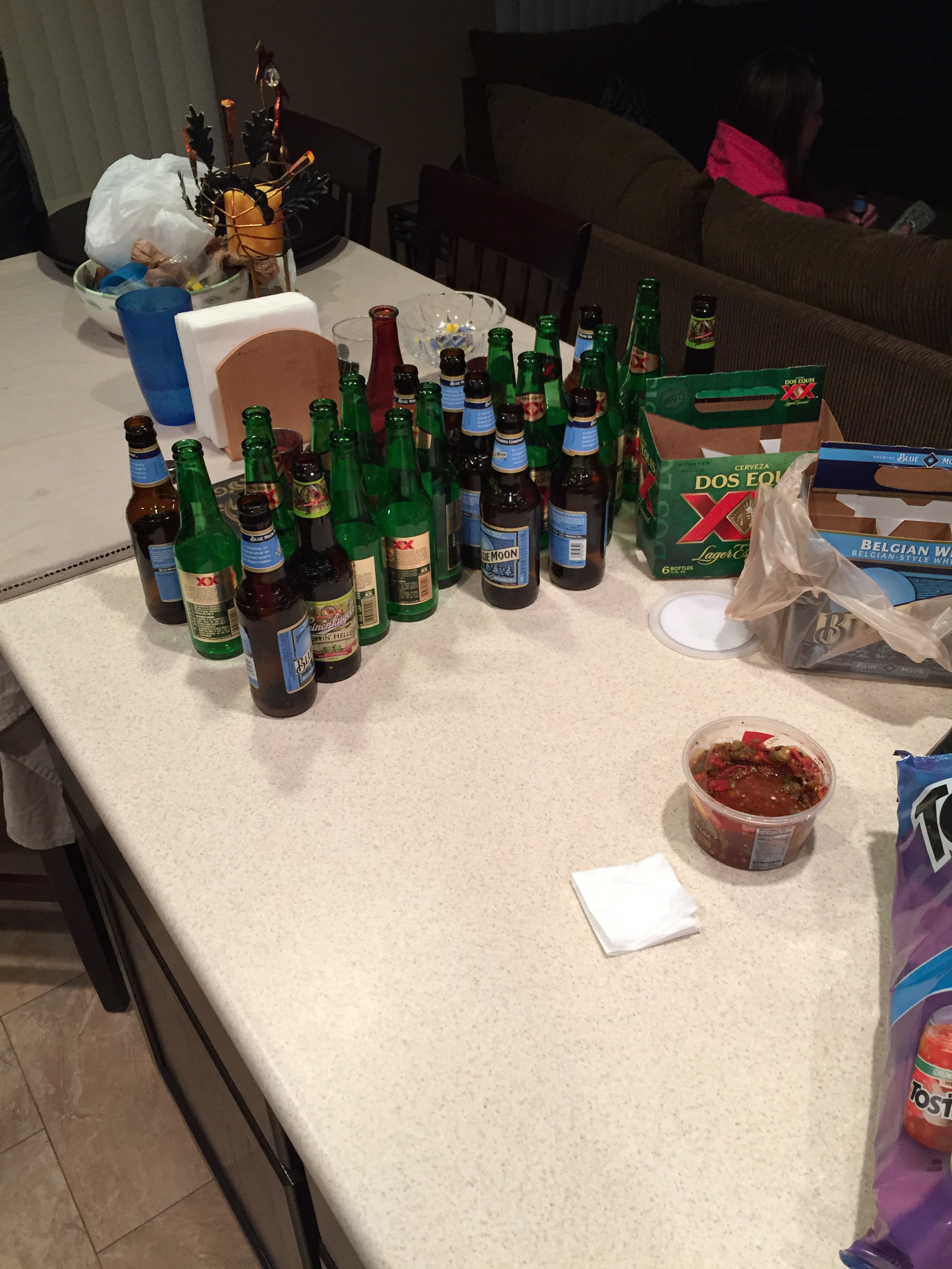 Poker night...we believe in recycling haha