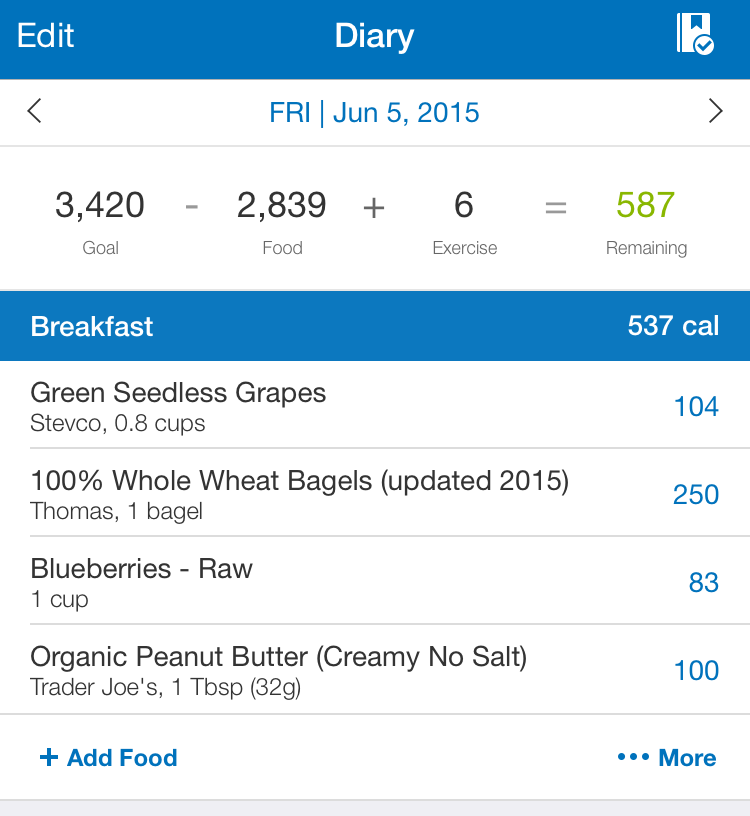 Example of a meal entry in MyFitness Pal