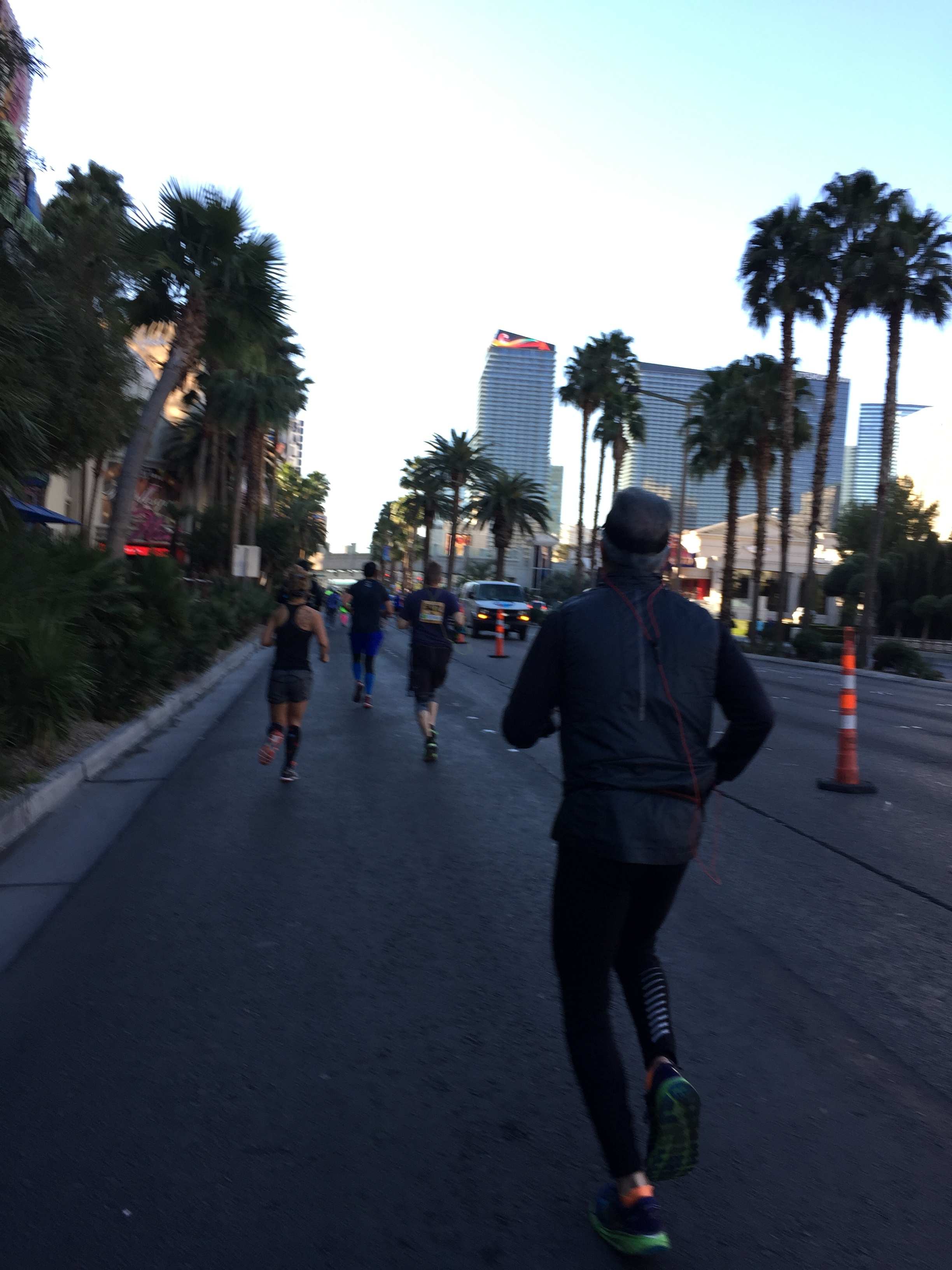 Running down the strip (Me in the blue compression sleeves)