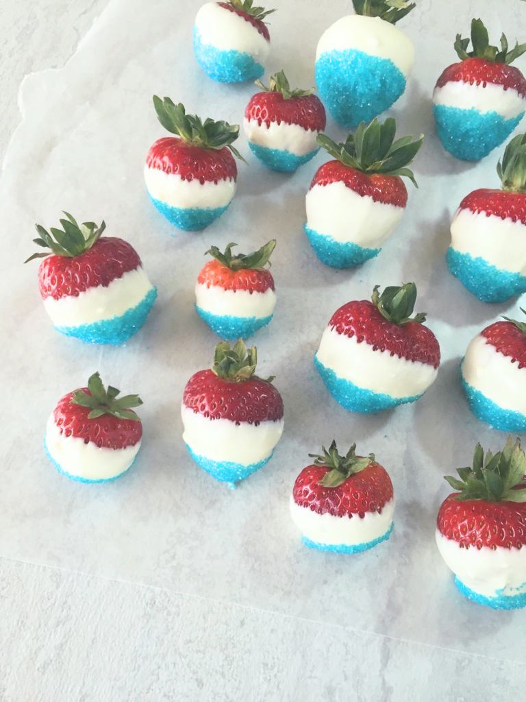 red white blue straberries