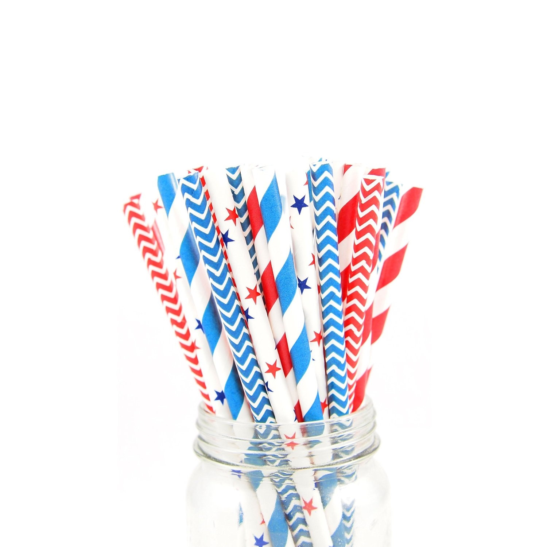 4th of July straws