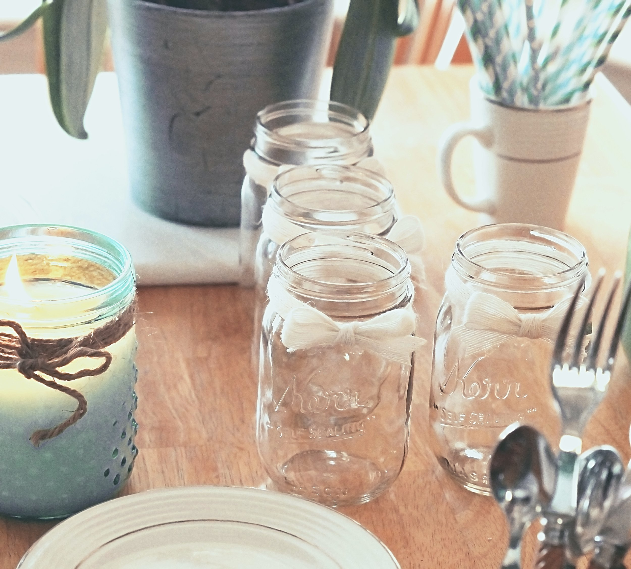 Mason jars white bow french country