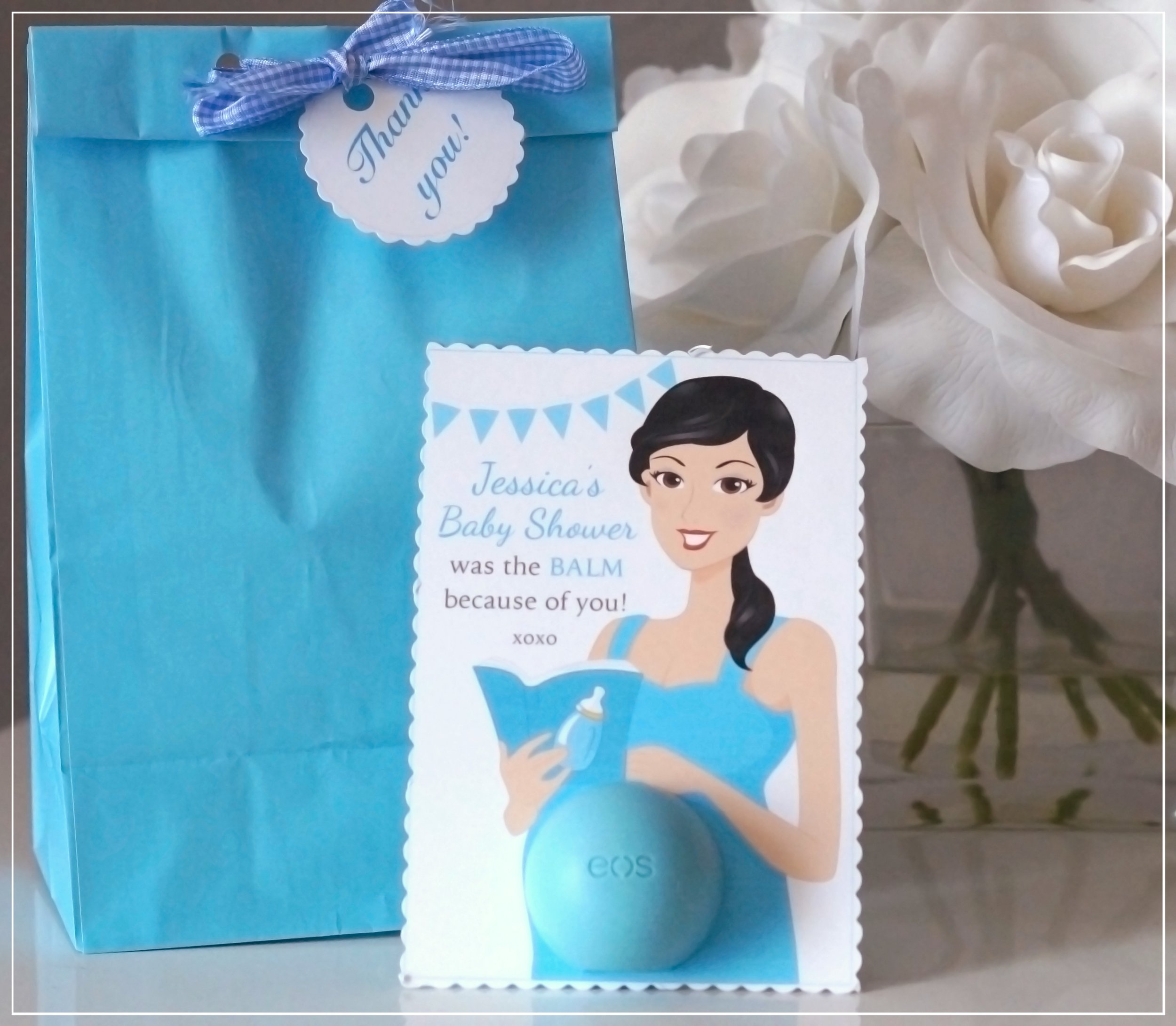 Etsy favor tag baby shower was the balm becouse of you