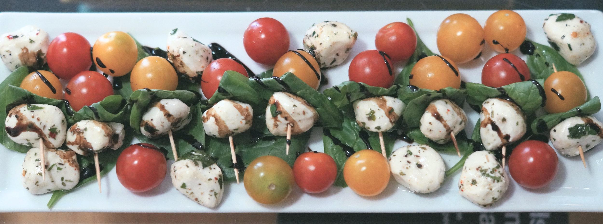 cherry tomatoes with mozzarella balls