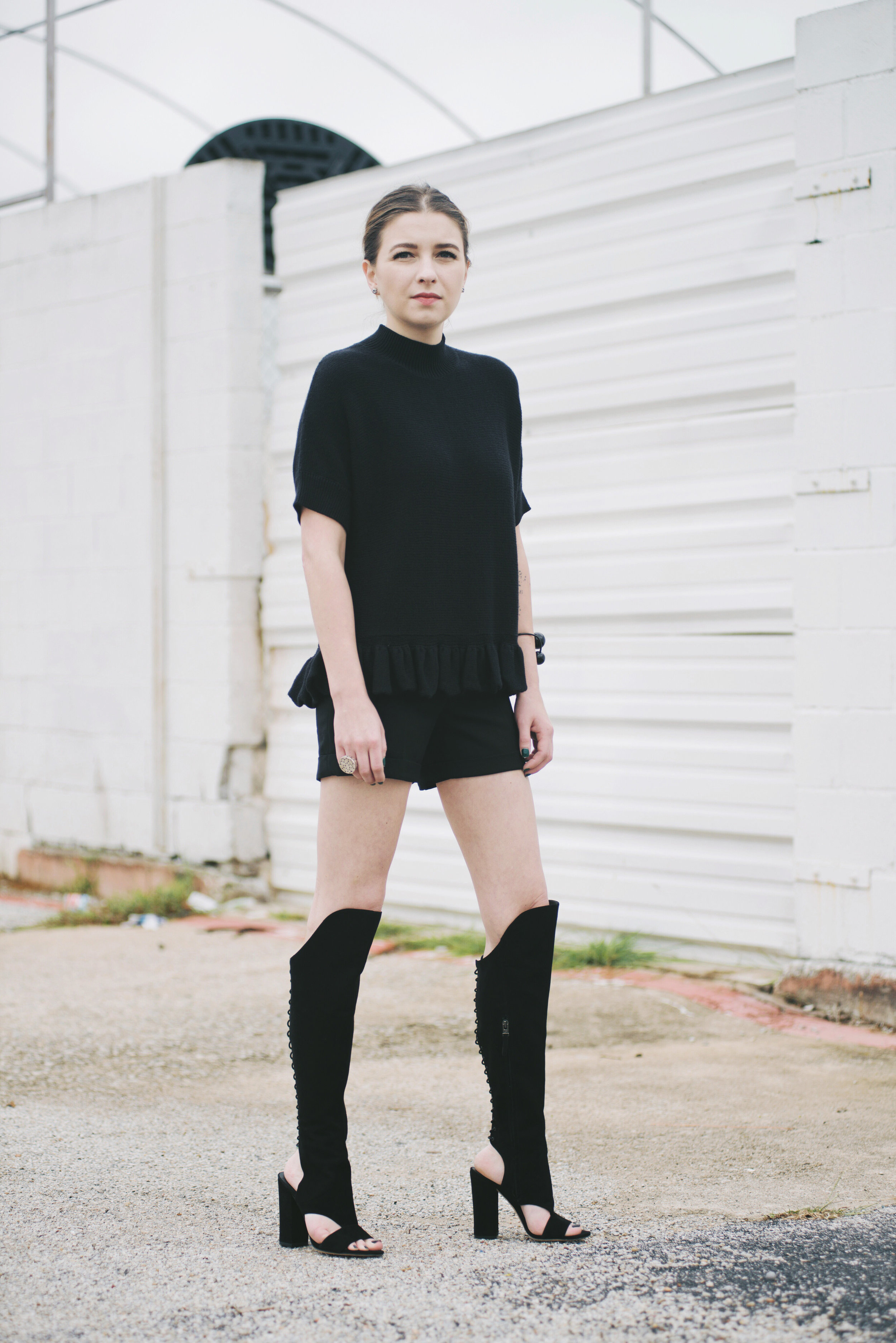 B Brian Atwood Brissa Boots with Kate Spade mock-turtlenecked ruffle-hemmed pullover