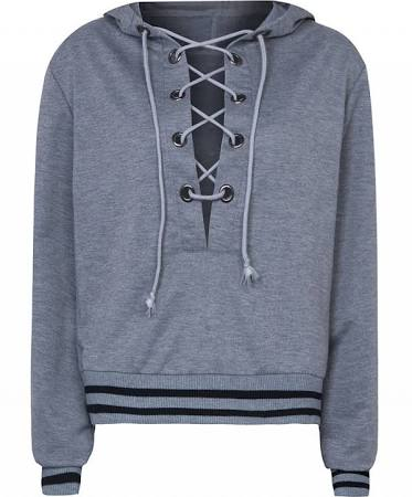 Gray Plunge Lace Up Front Stripe Trims Hoodie