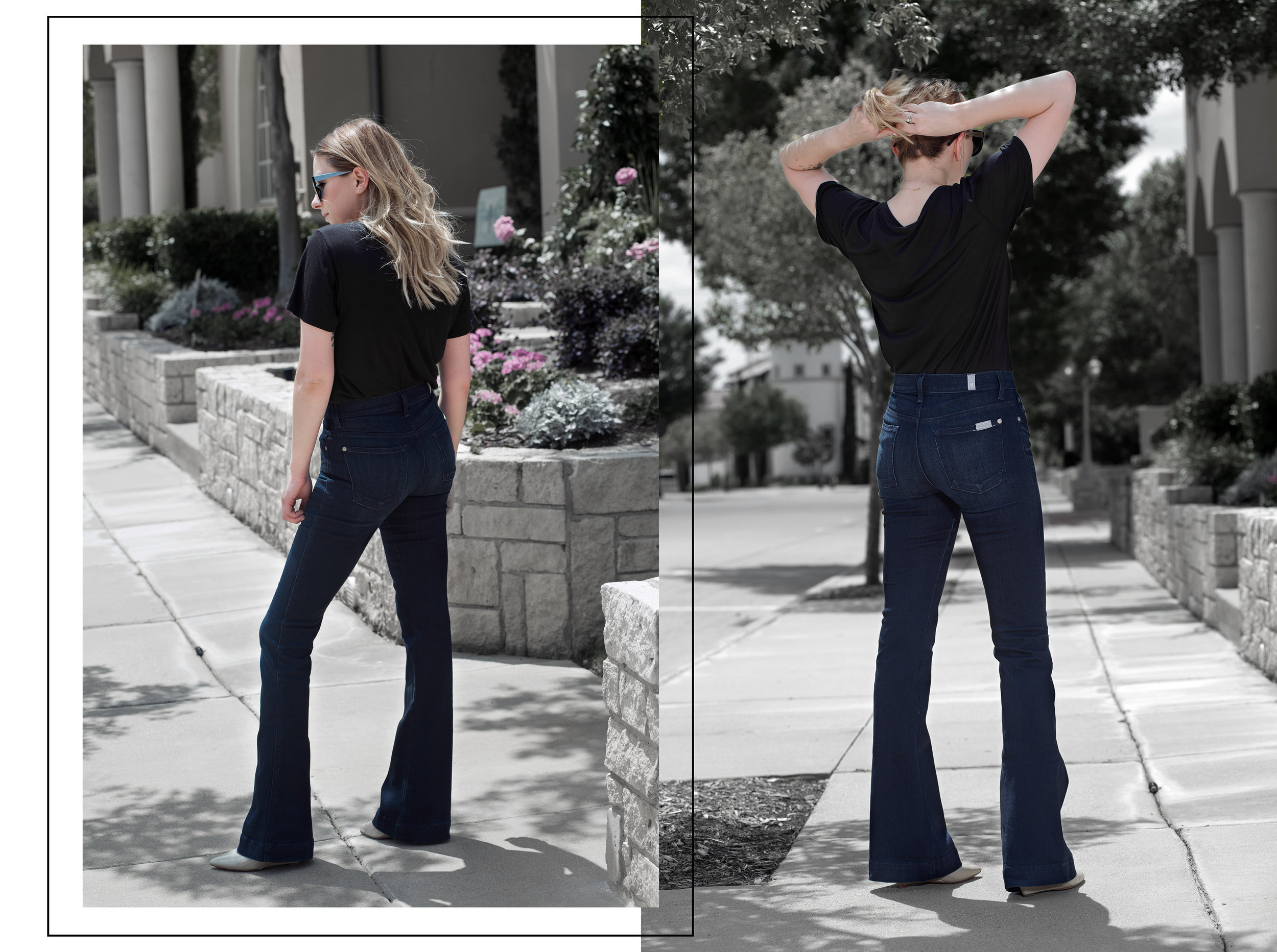 7 FOR ALL MANKIND flared jeans silent imagery with AG v-neck tee