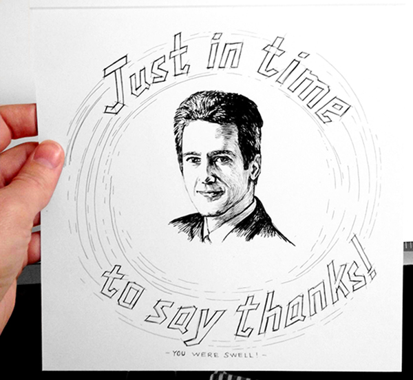 Illustrated thank you card
