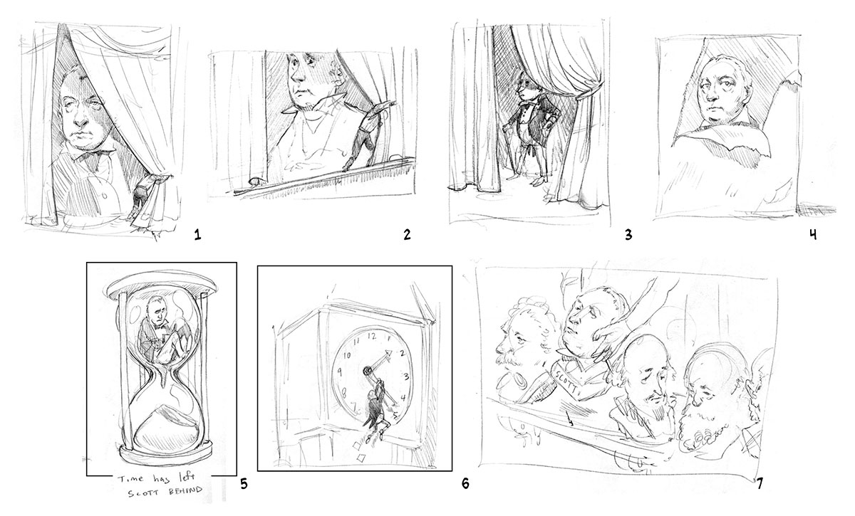 7 thumbnail ideas for the Sir Walter Scott article