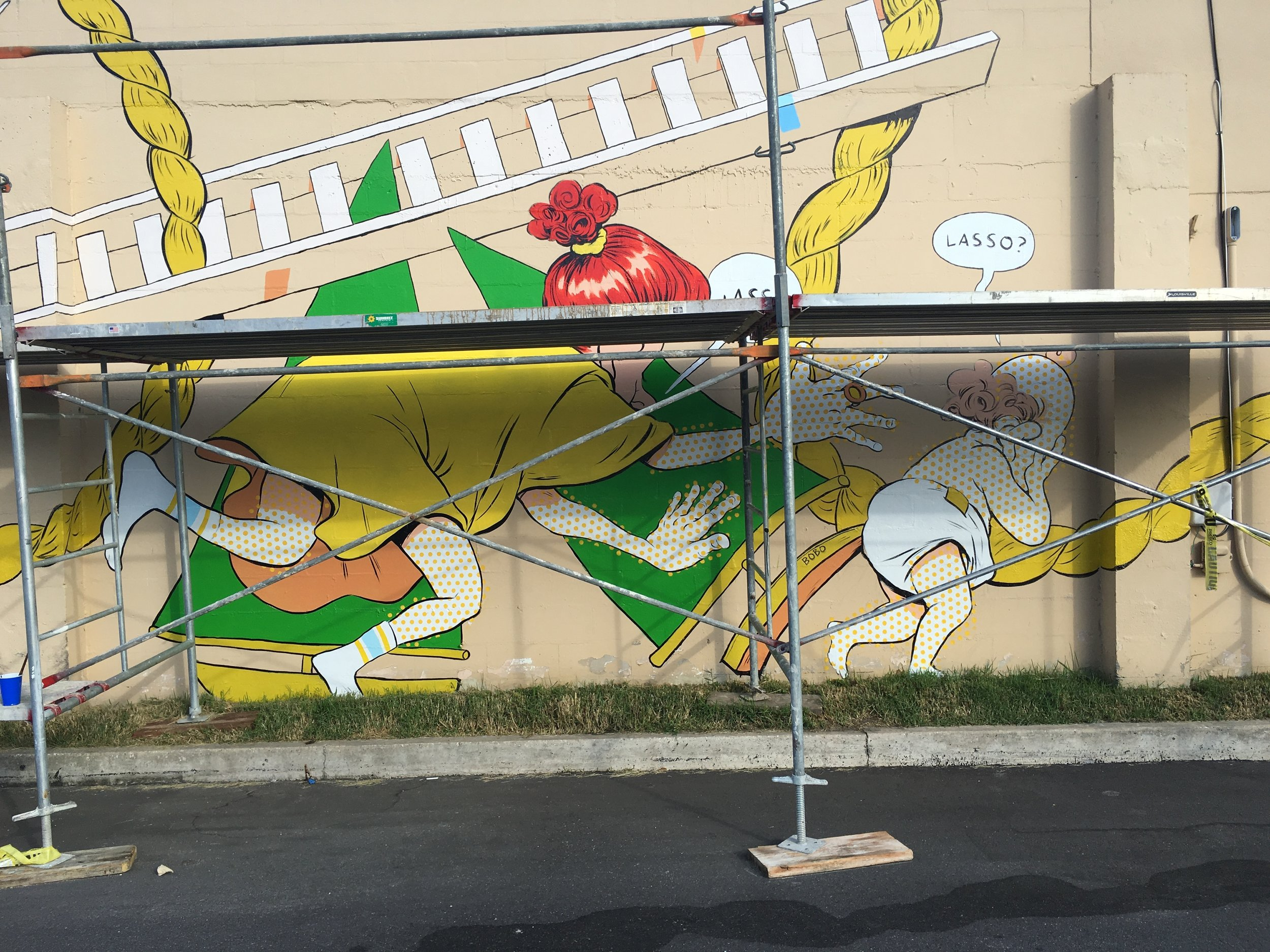 A big ol' mural in Murray Hill, Jacksonville, FL. - This bad boy titled 'Lasso' consumed me for a full month in the late summer of 2016. At times I felt that I was going to die in the blistering heat of a Jacksonville summer with a massive 120 foot wall reflecting light onto me. Thanks to Jason Tetlak of the Murray Hill Preservation Association for securing funding for such a big project. If you're ever in Jacksonville make sure to give it a look-see on Edgewood Drive. You can't miss it!