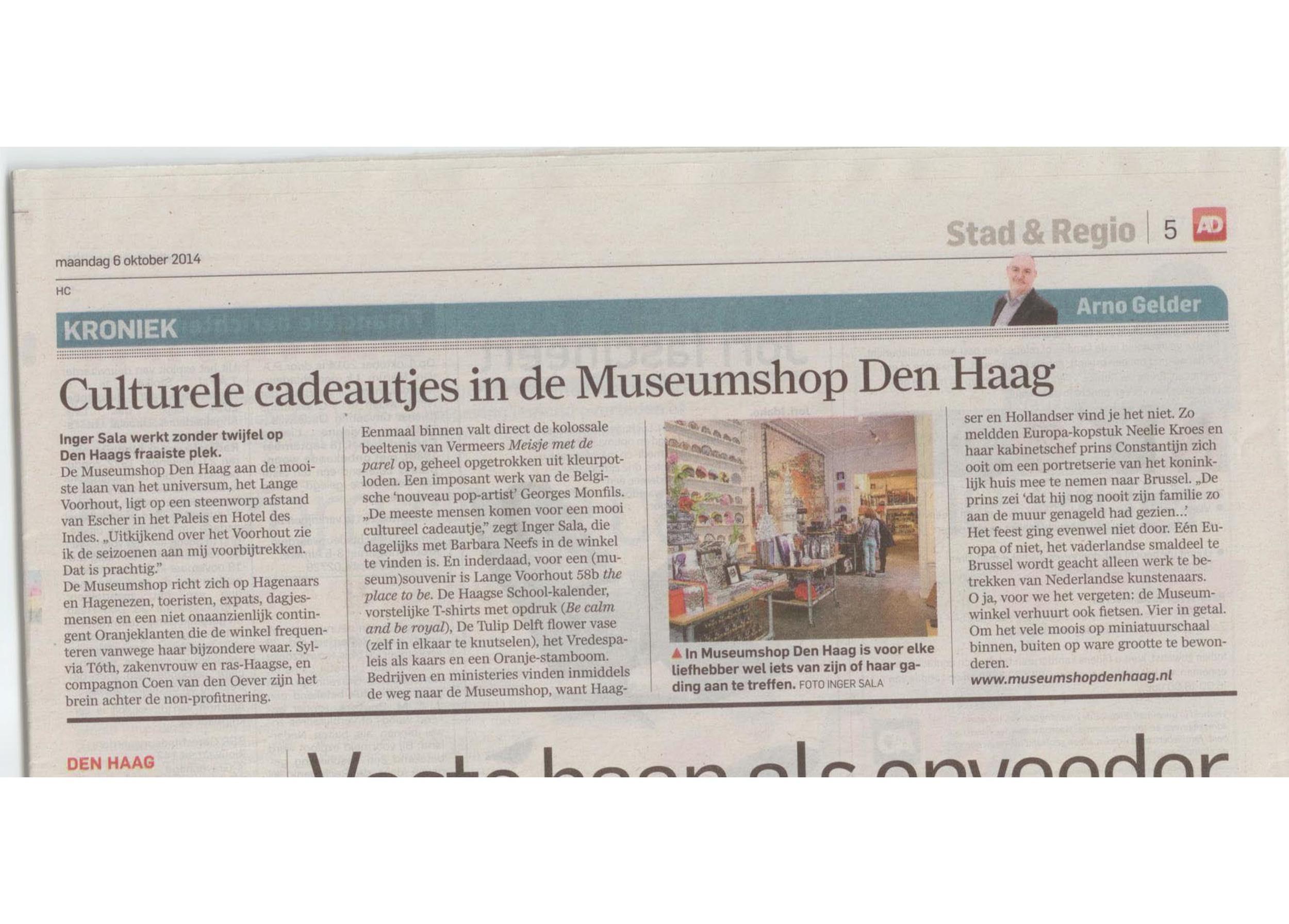 Great article in the Algemeen Dagblad (Netherlands) October 6, 2014