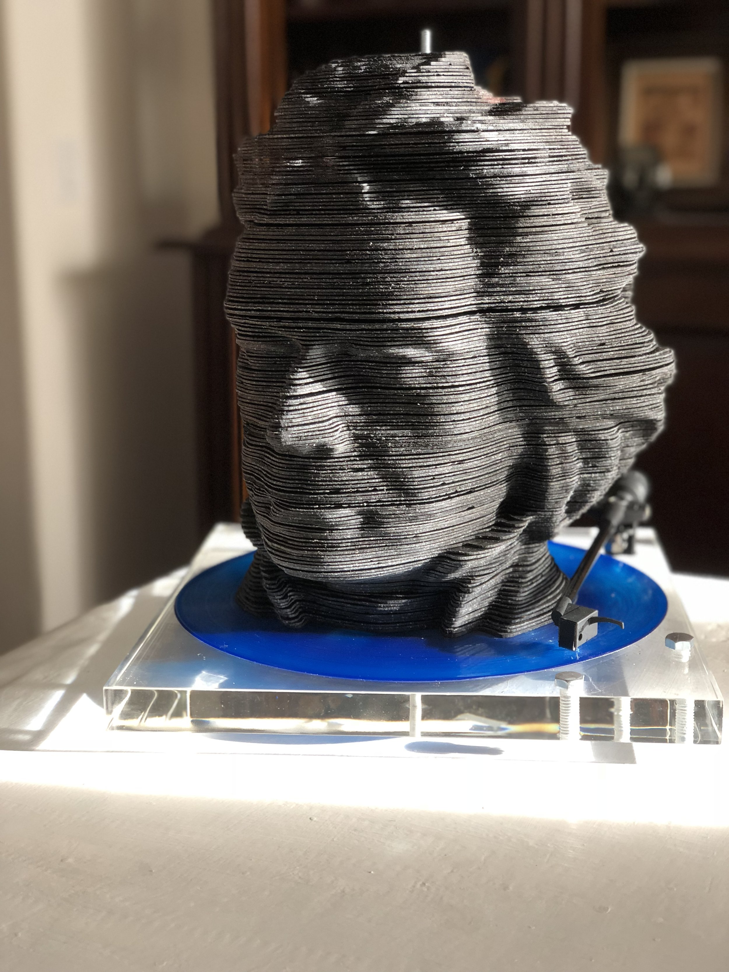 """Beethoven"" out of 168 vintage vinyl LPs with vintage tonearm on custom plexi base"