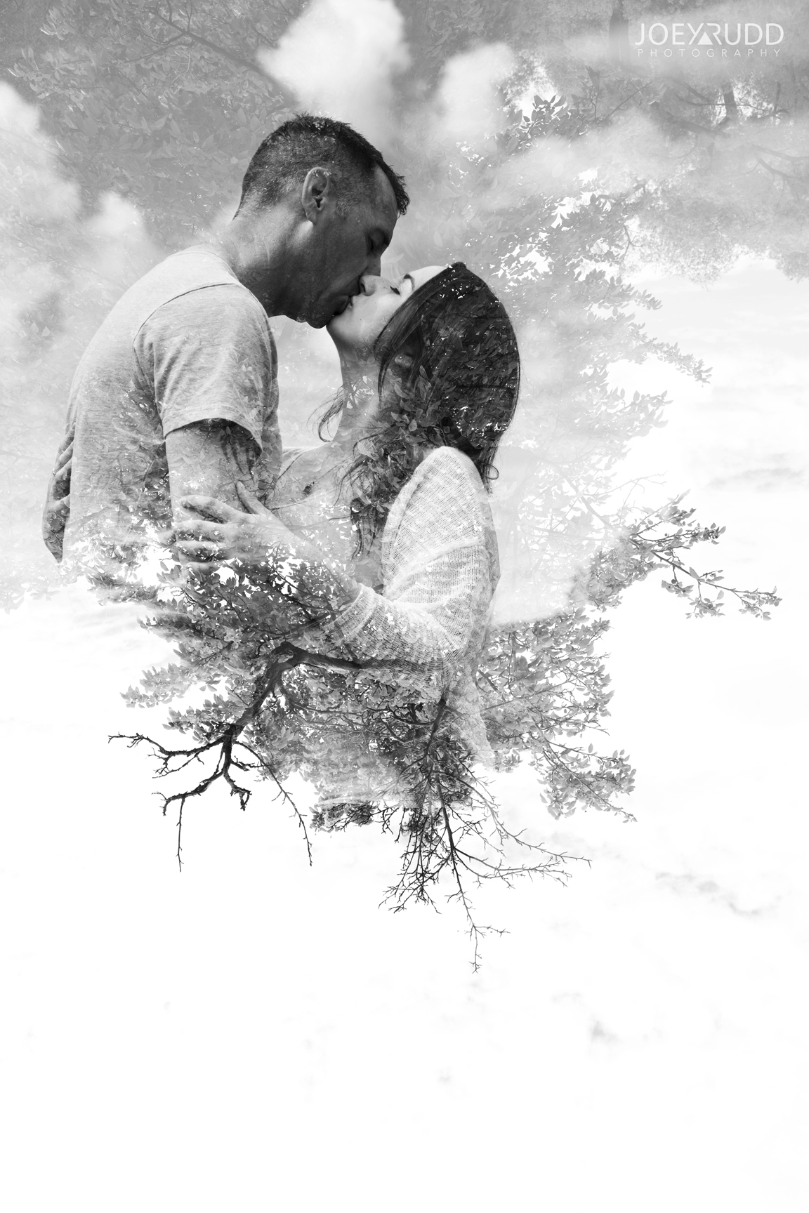 Double Exposure Photo by Joey Rudd Photography Award Winning Ottawa Wedding Photographer Engagement Arboretum