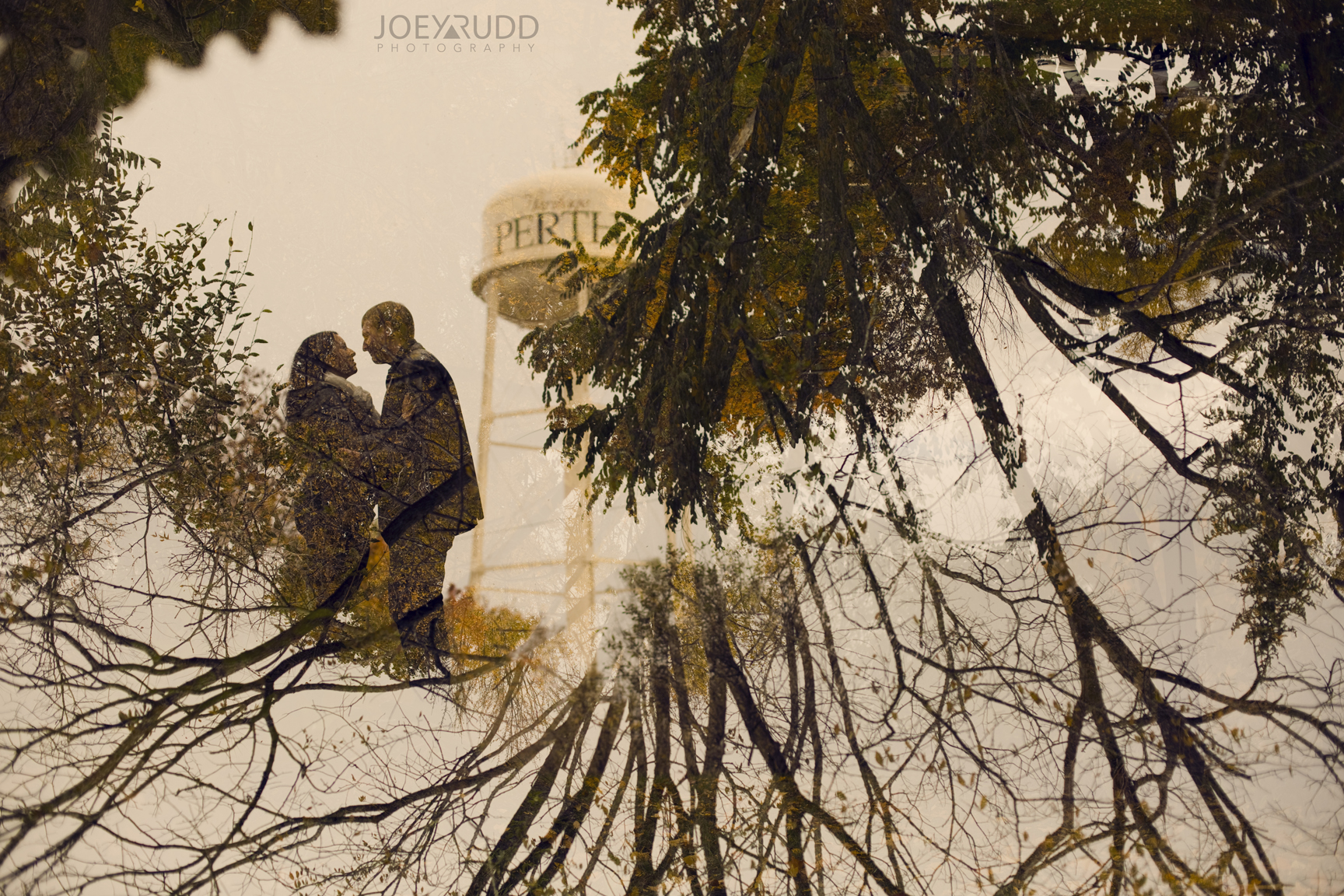 Double Exposure Photo by Joey Rudd Photography Award Winning Ottawa Wedding Photographer Engagement Perth Stewart Park