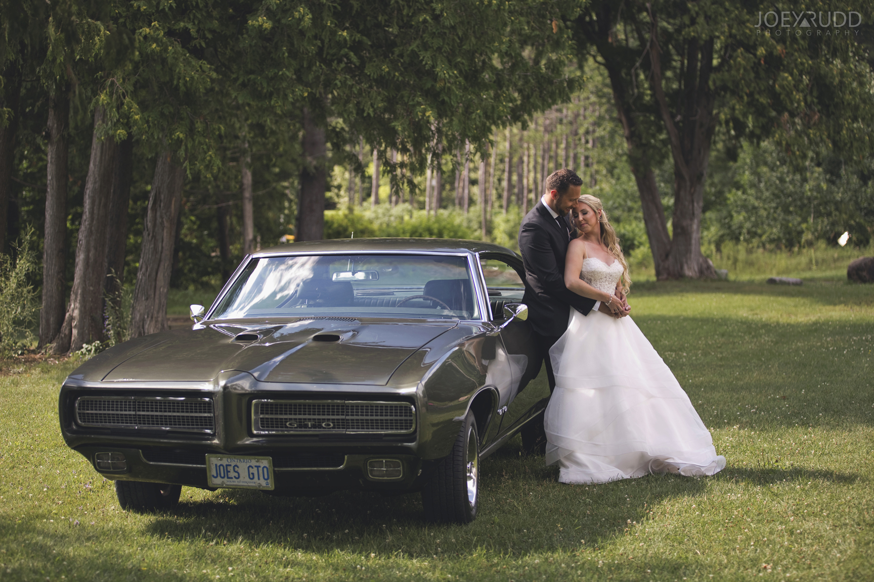 Calabogie Wedding at Barnet Park by Ottawa Wedding Photographer Joey Rudd Photography Vintage Wedding Car