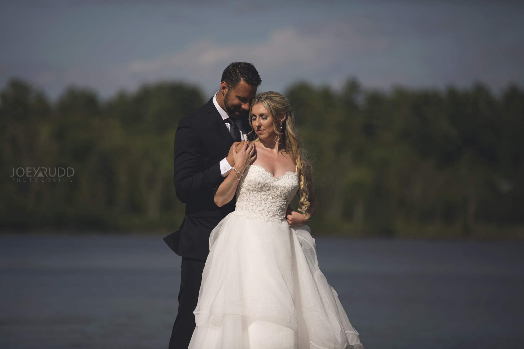Calabogie Wedding at Barnet Park by Ottawa Wedding Photographer Joey Rudd Photography Lakeside Dock Couple
