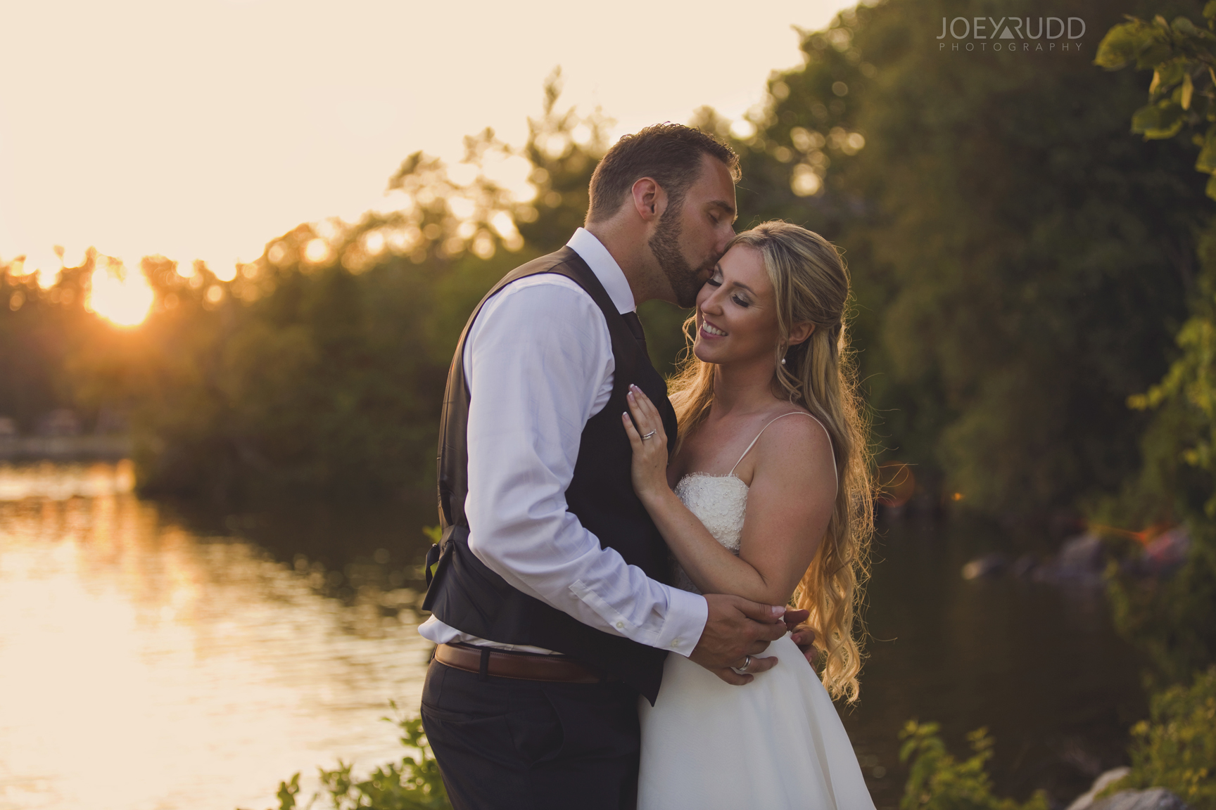 Calabogie Wedding at Barnet Park by Ottawa Wedding Photographer Joey Rudd Photography Sunset Portrait Bride and Groom