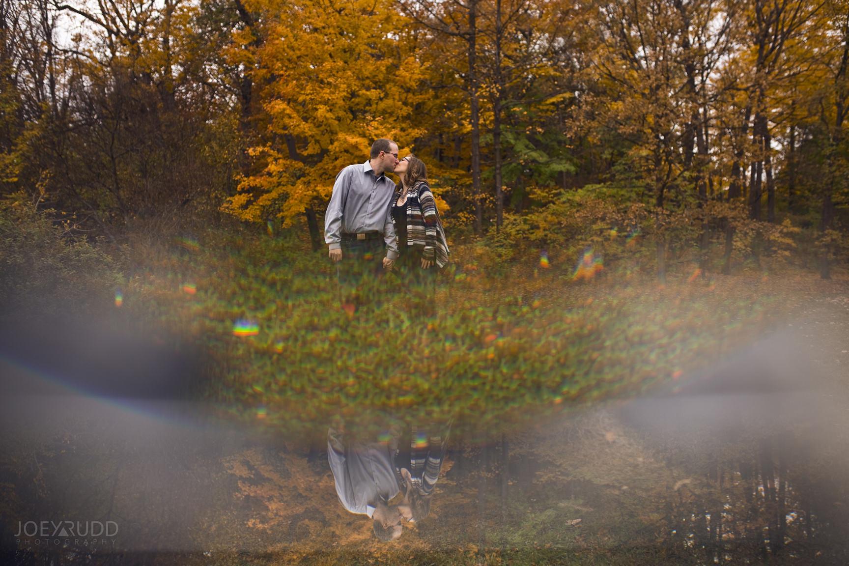 Ottawa Engagement Photo Arboretum by Ottawa Wedding Photographer Joey Rudd Photography Fall Leaves Prism Prisming
