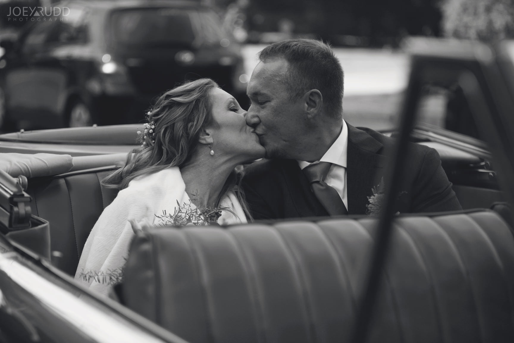 Ottawa Fall Wedding by Wedding Photographer Joey Rudd Photography Classic Car Kiss Bride and Groom