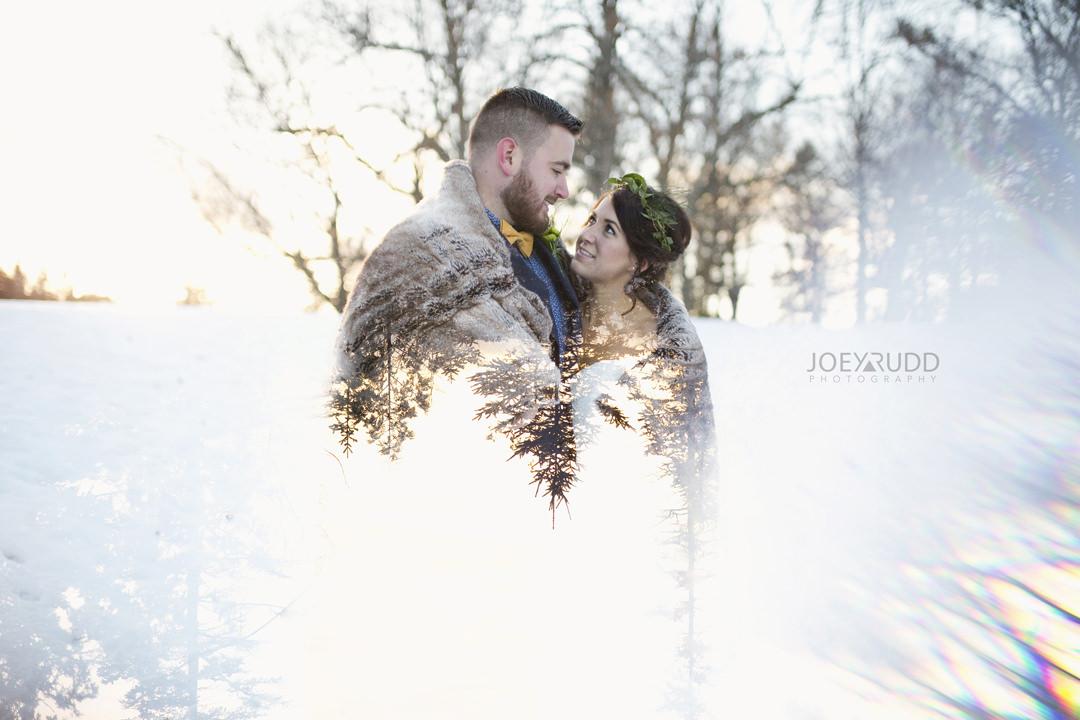 Ottawa Wedding at the Arboretum by Ottawa Wedding Photographer Joey Rudd Photography double exposure winter wedding fur prisming