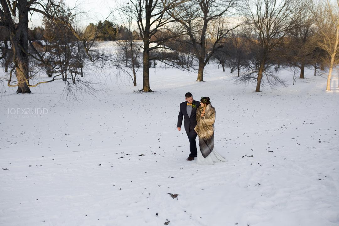 Ottawa winter wedding by ottawa wedding photographer Joey Rudd Photography Bride and Groom Walking