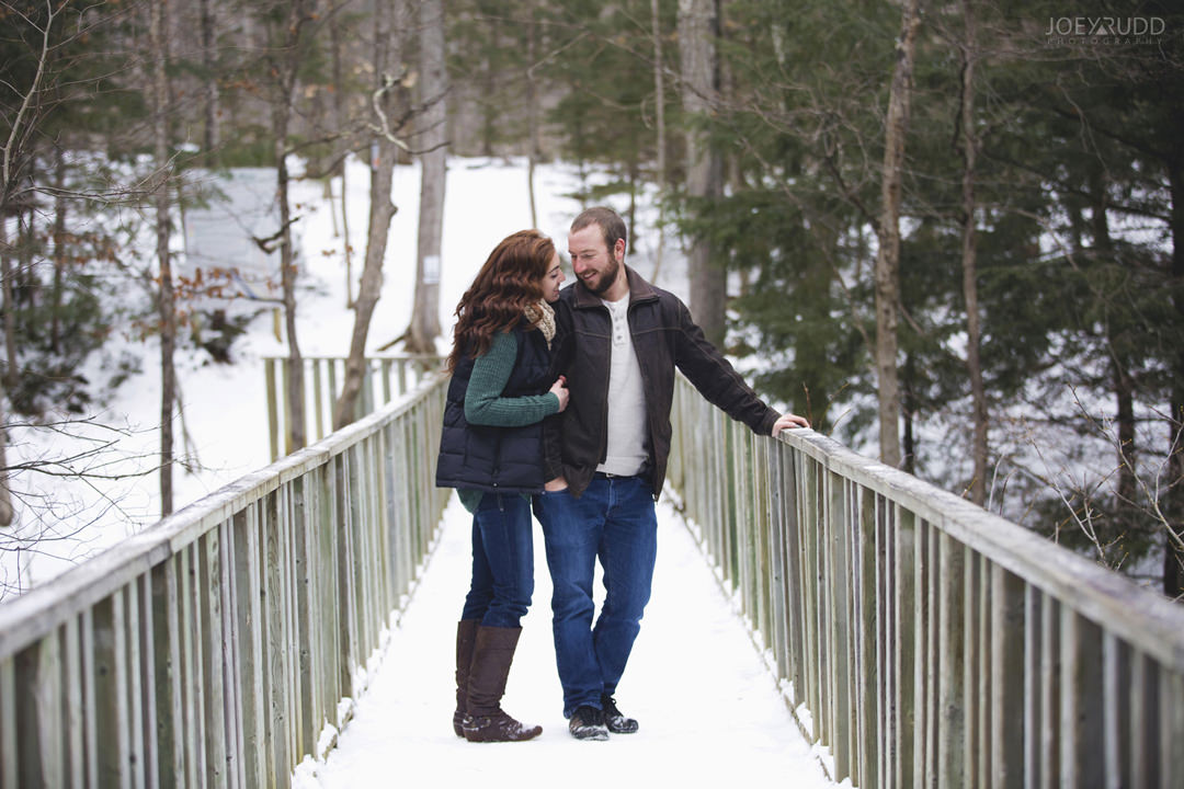 Almonte Engagement at the Mill of Kintail by Ottawa Wedding Photographer Joey Rudd Photography Bridge Winter