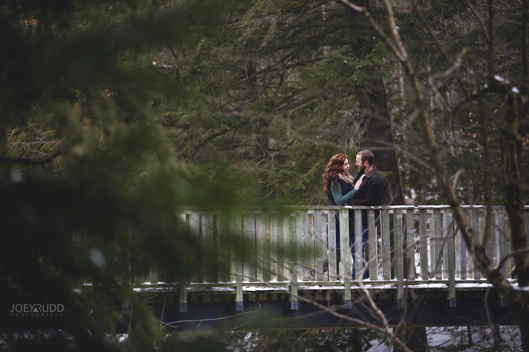 Almonte Engagement at the Mill of Kintail by Ottawa Wedding Photographer Joey Rudd Photography Winter bridge