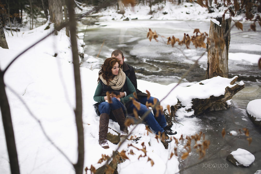 Almonte Engagement at the Mill of Kintail by Ottawa Wedding Photographer Joey Rudd Photography Winter ice