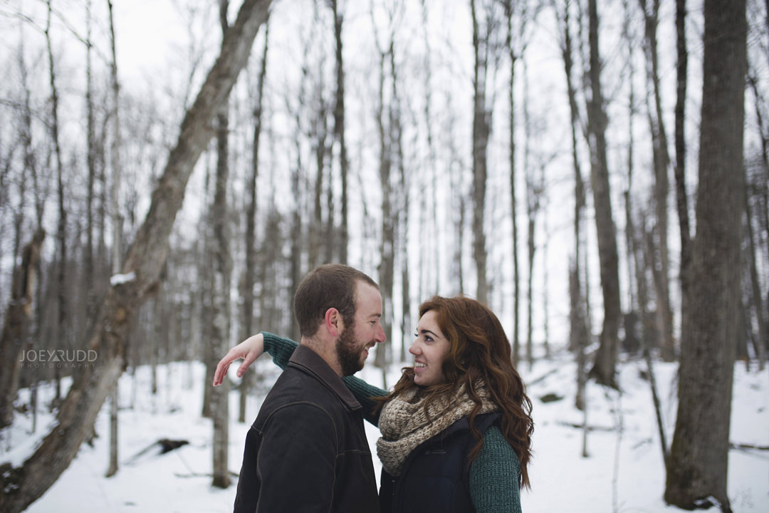 Almonte Engagement at the Mill of Kintail by Ottawa Wedding Photographer Joey Rudd Photography Winter treeline